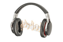 Ακουστικά με τις σημειώσεις μουσικής, μουσική έννοια τρισδιάστατη απόδοση ελεύθερη απεικόνιση δικαιώματος