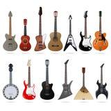 Ακουστικές και ηλεκτρικές κιθάρες καθορισμένες απεικόνιση αποθεμάτων