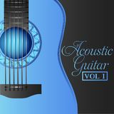 Ακουστική ένταση 1 συλλογής κιθάρων μπλε κάλυψη Στοκ Εικόνες