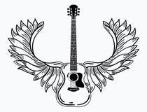 Ακουστική κιθάρα με τα φτερά Τυποποιημένη coustic κιθάρα με τα φτερά αγγέλου Γραπτή απεικόνιση ενός μουσικού ελεύθερη απεικόνιση δικαιώματος
