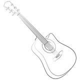 Ακουστική κιθάρα. Διανυσματική απεικόνιση άχρωμη Στοκ Εικόνες