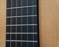 Ακουστική κιθάρα Fretboard & σειρές στοκ εικόνα