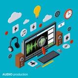 Ακουστική παραγωγή, διανυσματική έννοια montage απεικόνιση αποθεμάτων