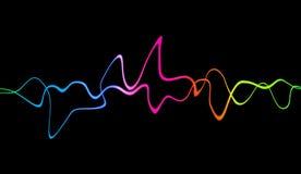 Ακουστική ψηφιακή τεχνολογία εξισωτών, σφυγμός μουσικός Αφηρημένα ζωηρόχρωμα υγιή κύματα για το κόμμα, DJ, μπαρ, λέσχες απεικόνιση αποθεμάτων