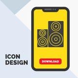 Ακουστικός, υψηλής πιστότητας, όργανο ελέγχου, ομιλητής, εικονίδιο Glyph στούντιο σε κινητό για Download τη σελίδα r διανυσματική απεικόνιση