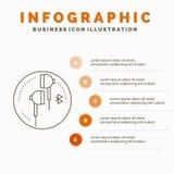 Ακουστικό, αυτί, τηλέφωνο, bluetooth, πρότυπο Infographics μουσικής για τον ιστοχώρο και παρουσίαση r απεικόνιση αποθεμάτων