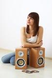 ακουστικό κορίτσι δυνα&mu στοκ εικόνα με δικαίωμα ελεύθερης χρήσης