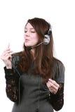 ακουστικό κοριτσιών Στοκ φωτογραφίες με δικαίωμα ελεύθερης χρήσης