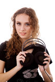 ακουστικό κοριτσιών Στοκ Εικόνες