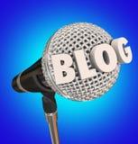 Ακουστικό πρόγραμμα εκθέσεων συνέντευξης του Word μικροφώνων Blog Στοκ εικόνα με δικαίωμα ελεύθερης χρήσης