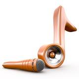 Ακουστικό σύστημα ομιλητών στο σημάδι και το μικρόφωνο σημειώσεων, τρισδιάστατα Στοκ φωτογραφία με δικαίωμα ελεύθερης χρήσης