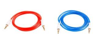 Ακουστικό χρώμα του Jack καλωδίων στο α Στοκ Φωτογραφία