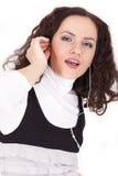 ακούοντας mp3 γυναίκα στοκ φωτογραφίες