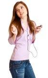 ακούοντας mp3 φορέας μουσ&io Στοκ Εικόνες