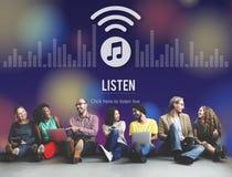 Ακούστε ραδιο έννοια ψυχαγωγίας μουσικής ακούσματος ελεύθερη απεικόνιση δικαιώματος