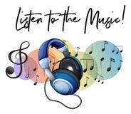 Ακούστε τη φράση και το ακουστικό μουσικής στο υπόβαθρο διανυσματική απεικόνιση