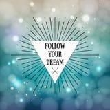 Ακολουθήστε το όνειρό σας - εμπνευσμένο απόσπασμα Φυλετικό πλαίσιο ύφους boho Στοκ φωτογραφία με δικαίωμα ελεύθερης χρήσης