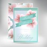 Ακολουθία καρτών γαμήλιας πρόσκλησης με τα πρότυπα λουλουδιών μαργαριτών Στοκ φωτογραφία με δικαίωμα ελεύθερης χρήσης