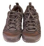 Ακολουθώντας αθλητικά μαύρα πάνινα παπούτσια, αναπνεύσιμο υλικό, που απομονώνεται Στοκ εικόνα με δικαίωμα ελεύθερης χρήσης