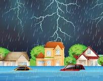 Ακραία πλημμύρα στις προαστιακές οδούς διανυσματική απεικόνιση