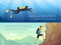 Ακραίος αθλητισμός 2 επίπεδα οριζόντια εμβλήματα διανυσματική απεικόνιση