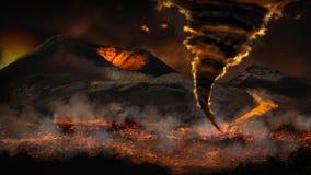 Ακραίος καιρός με τη δυσκολοπρόφερτη λέξη ανεμοστροβίλου και το ηφαίστειο στοκ εικόνα