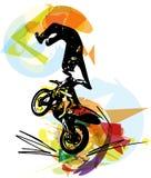 Ακραίος δρομέας μοτοκρός με τη μοτοσικλέτα απεικόνιση αποθεμάτων