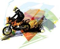Ακραίος δρομέας μοτοκρός με τη μοτοσικλέτα διανυσματική απεικόνιση