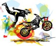Ακραίος δρομέας μοτοκρός με τη μοτοσικλέτα ελεύθερη απεικόνιση δικαιώματος