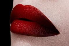 Ακραίος στενός επάνω στο πρότυπο με το σκούρο κόκκινο κραγιόν makeup Profes Στοκ Φωτογραφία