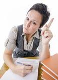 Ακριβής δάσκαλος που δείχνει το δάχτυλο στοκ φωτογραφία