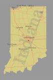 Ακριβής διανυσματικός ακριβής λεπτομερής κρατικός χάρτης της Ιντιάνα με την Κοινότητα Στοκ Εικόνα