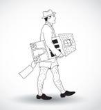 Ακριβός νεαρός άνδρας κτημάτων Realty με το νέο εγχώριο ιδιοκτήτη ελεύθερη απεικόνιση δικαιώματος