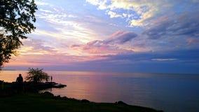 ακριβώς ηλιοβασίλεμα Στοκ Εικόνες