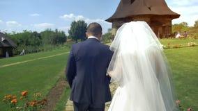 Ακριβώς η παντρεμένη αγάπη hipster συνδέει στο γαμήλια φόρεμα και το κοστούμι στον πράσινο τομέα σε ένα δάσος στο ηλιοβασίλεμα νε απόθεμα βίντεο