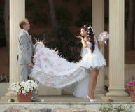 Ακριβώς παντρεμένος στην ημέρα του γάμου τους Στοκ Φωτογραφίες