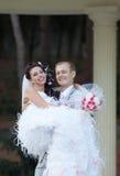 Ακριβώς παντρεμένος στην ημέρα του γάμου τους Στοκ Εικόνες