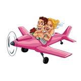 Ακριβώς παντρεμένο ζευγάρι που οδηγά ένα ρόδινο αεροπλάνο σε ένα διάνυσμα κινούμενων σχεδίων ταξιδιού μήνα του μέλιτος Στοκ Φωτογραφία