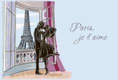 Ακριβώς παντρεμένο ζευγάρι στο Παρίσι Διανυσματική απεικόνιση