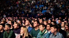 Ακροατήριο στη αίθουσα συνδιαλέξεων απόθεμα βίντεο