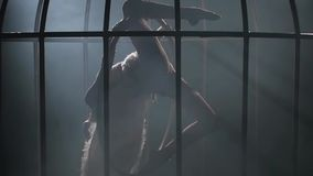 Ακροβατικός σε ένα κλουβί σταματά σε μια στεφάνη σε ένα σκοτεινό δωμάτιο Μαύρο υπόβαθρο καπνού σκιαγραφία κίνηση αργή απόθεμα βίντεο