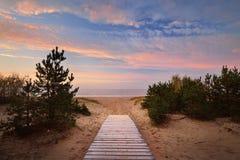 Ακροθαλασσιά και ένας δρόμος μέσω των αμμόλοφων άμμου Στοκ φωτογραφία με δικαίωμα ελεύθερης χρήσης