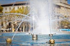 Ακροφύσια της πηγής Plaza Catalunya, Βαρκελώνη Στοκ Εικόνα
