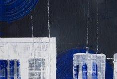 ακρυλική μαύρη μπλε ζωγρ&alph Στοκ Φωτογραφία
