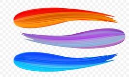 Ακρυλικό κτύπημα βουρτσών χρωμάτων Το διανυσματικό φωτεινό πορτοκάλι, το βελούδο ή το πορφυρό και μπλε τρισδιάστατο χρώμα κλίσης  διανυσματική απεικόνιση
