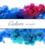 Ακρυλικά χρώματα και μελάνι στο νερό αφηρημένο πλαίσιο ανασκόπησης Isol Στοκ φωτογραφία με δικαίωμα ελεύθερης χρήσης