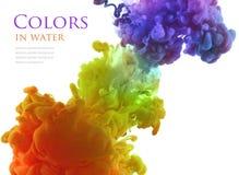Ακρυλικά χρώματα στο νερό αφηρημένη ανασκόπηση στοκ εικόνες με δικαίωμα ελεύθερης χρήσης