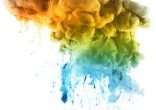 Ακρυλικά χρώματα στο νερό αφηρημένη ανασκόπηση στοκ φωτογραφίες με δικαίωμα ελεύθερης χρήσης