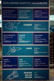 Ακρωτήριο Κανάβεραλ, Φλώριδα - 13 Αυγούστου 2018: Εξερεύνηση του πίνακα πληροφοριών γήινων ` s γειτόνων στο Διαστημικό Κέντρο Κέν στοκ φωτογραφίες με δικαίωμα ελεύθερης χρήσης