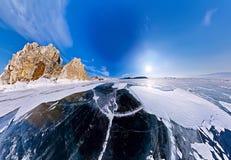 Ακρωτήριο σαμάνων στο νησί Olkhon, Baikal, κεραία ψάρι-ματιών Στοκ Εικόνες
